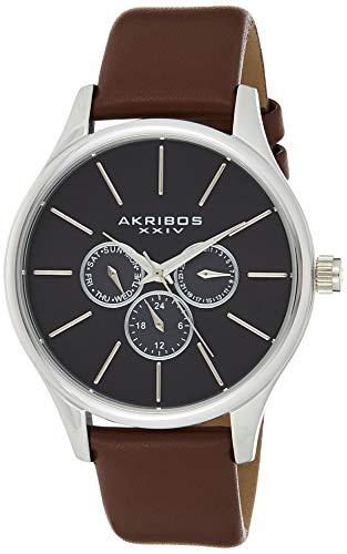 アクリボスXXIV 腕時計 メンズ 【送料無料】Akribos Multifunction Chronograph Men's Watch - 3 Sub-Dials Complications On Genuine Leather Watch - AK870アクリボスXXIV 腕時計 メンズ