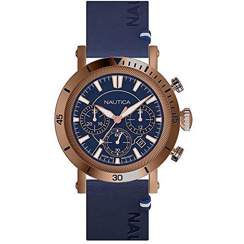 ノーティカ 腕時計 メンズ 【送料無料】Nautica Men's Fairmont Chrono Stainless Steel Japanese-Quartz Leather Strap, Blue, 22 Casual Watch (Model: NAPFMT004ノーティカ 腕時計 メンズ