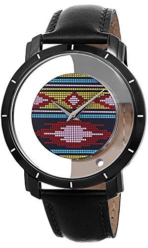 腕時計 アクリボスXXIV メンズ 【送料無料】Akribos XXIV Men's Floating Dial Watch - Unique Colorful Navajo Pattern on Dial with Hidden Crown with Genuine Black Calfskin Leather Strap - AK665腕時計 アクリボスXXIV メンズ