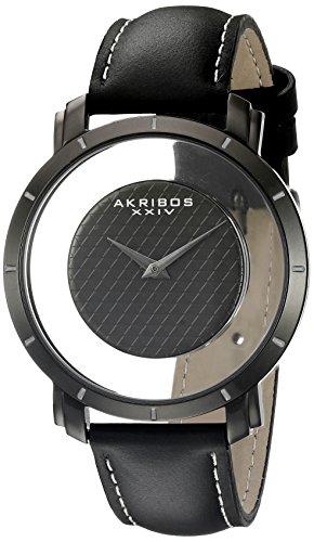 アクリボスXXIV 腕時計 メンズ送料無料 Akribos XXIV Men's Unique See Thru DialCheckered DialOn Genuine Leather StrapAK856アクリボスXXIV 腕時計 メンズqpSUGMzV