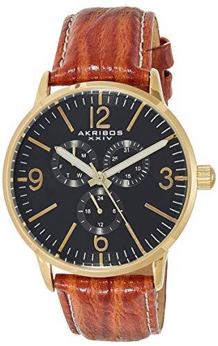アクリボスXXIV 腕時計 メンズ 【送料無料】Akribos XXIV Men's Multifunction Watch - 3 Subdials Include Day, Date and GMT on Genuine Leather and White Stitching Strap - AK769アクリボスXXIV 腕時計 メンズ