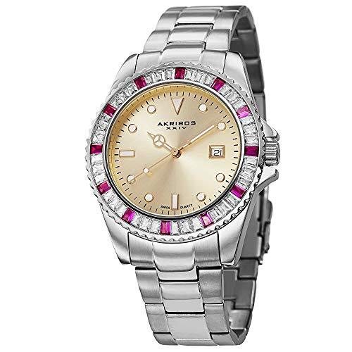 アクリボスXXIV 腕時計 メンズ 【送料無料】Akribos XXIV Unisex Swiss Quartz Crystal Watch - Baguette Crystals on Bezel With Date Window on Champagne Dial and Silver Stainless Steel Bracelet - AK702アクリボスXXIV 腕時計 メンズ