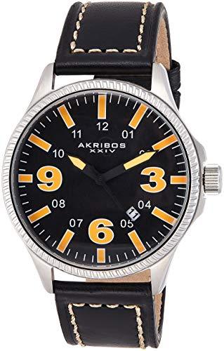 アクリボスXXIV 腕時計 メンズ 【送料無料】Akribos XXIV Men's Classic Watch with Date - Bold Luminous Arabic Numerals On Genuine Black Leather with Cream Stitching Strap - AK833アクリボスXXIV 腕時計 メンズ