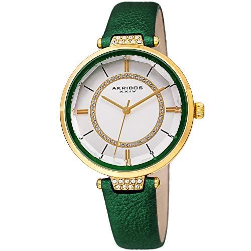 アクリボスXXIV 腕時計 レディース 【送料無料】Akribos XXIV Womens Swarovski Watch - Swarovski Crystals Ring On White Dial and Crystal Filled Lug On Textured Leather Strap - AK1116 (Green)アクリボスXXIV 腕時計 レディース