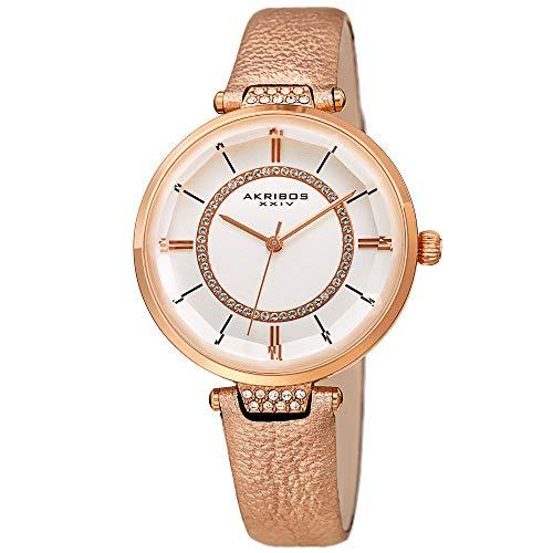 アクリボスXXIV 腕時計 レディース 【送料無料】Akribos XXIV Womens Swarovski Watch - Swarovski Crystals Ring On White Dial and Crystal Filled Lug On Textured Leather Strap - AK1116 (Pink)アクリボスXXIV 腕時計 レディース