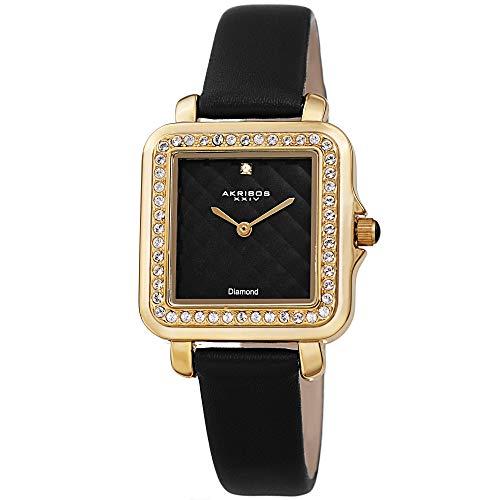アクリボスXXIV 腕時計 レディース 【送料無料】Akribos XXIV Women's Swarovski Crystal Watch - Embossed Argyle Dial Diamond at 12 O'clock On Genuine Leather Strap - AK1106 (Black)アクリボスXXIV 腕時計 レディース
