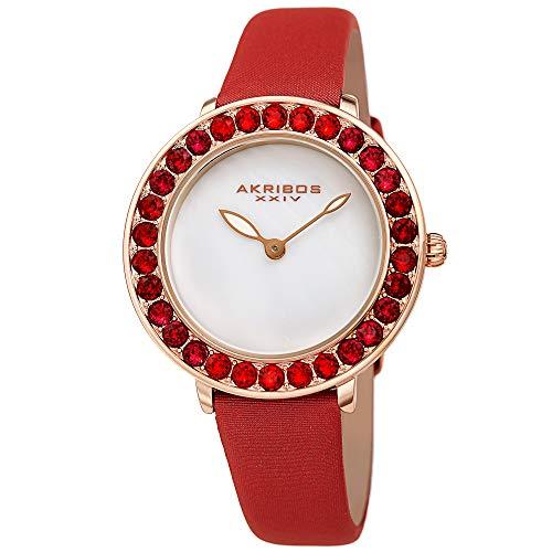 アクリボスXXIV 腕時計 レディース 【送料無料】Akribos Dazzling Colorful Swarovski Crystal Women's Watch - Stylish Ladies Watch with Comfortable Genuine Satin Over Leather Strap- AK1093 (Red)アクリボスXXIV 腕時計 レディース