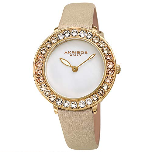 アクリボスXXIV 腕時計 レディース Akribos Dazzling Colorful Swarovski Crystal Women's Watch - Stylish Ladies Watch with Comfortable Genuine Satin Over Leather Strap- AK1093 (Gold)アクリボスXXIV 腕時計 レディース