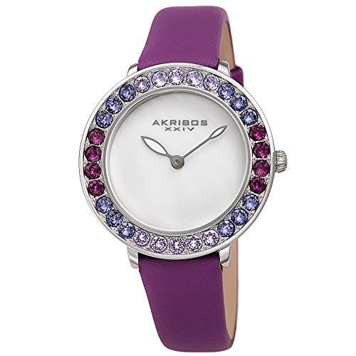 アクリボスXXIV 腕時計 レディース 【送料無料】Akribos Dazzling Colorful Swarovski Crystal Women's Watch - Stylish Ladies Watch with Comfortable Genuine Satin Over Leather Strap- AK1093 (Purple)アクリボスXXIV 腕時計 レディース