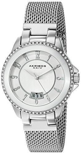"""アクリボスXXIV 腕時計 レディース 【送料無料】Akribos XXIV Women""""s Swarovski Crystal Watch - Etched Dial with Large Arabic Numerals With Date Window On a Mesh Bracelet - AK840アクリボスXXIV 腕時計 レディース"""
