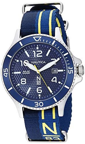 ノーティカ 腕時計 メンズ 【送料無料】Nautica N83 Men's NAPCBS902 Cocoa Beach Solar Blue/Yellow Fabric Slip-Thru Strap Watchノーティカ 腕時計 メンズ