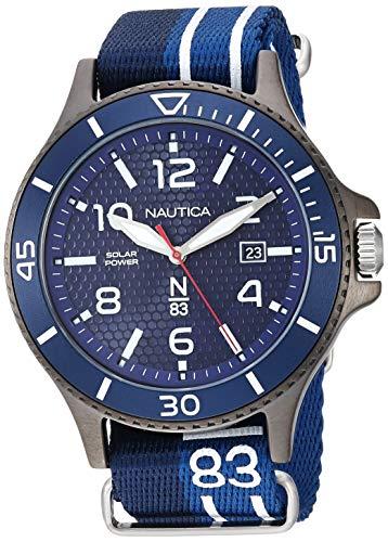 ノーティカ 腕時計 メンズ 【送料無料】Nautica N83 Men's NAPCBS903 Cocoa Beach Solar Blue/Black Fabric Slip-Thru Strap Watchノーティカ 腕時計 メンズ