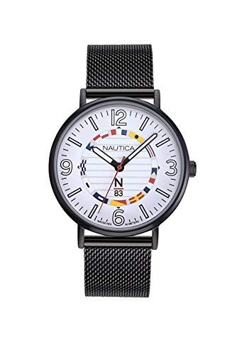 ノーティカ 腕時計 メンズ 【送料無料】Nautica N83 Men's NAPWGS904 Wave Garden Black/White Stainless Steel Mesh Band Watchノーティカ 腕時計 メンズ
