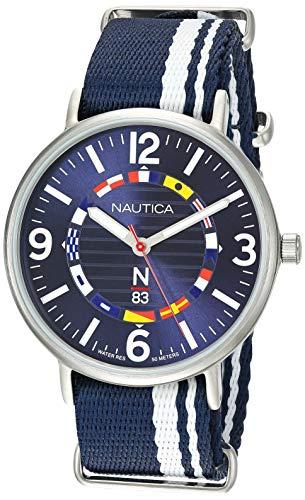腕時計 ノーティカ メンズ 【送料無料】Nautica N83 Men's NAPWGS902 Wave Garden Blue/White Stripe Fabric Slip-Thru Strap Watch腕時計 ノーティカ メンズ