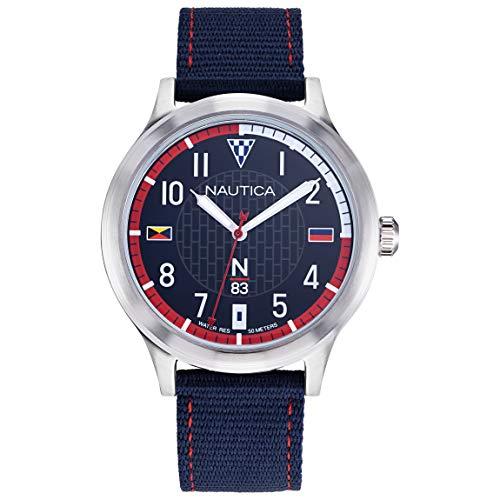 ノーティカ 腕時計 メンズ Nautica N83 Men's NAPCFS910 Crissy Field Blue/Red Silicone Strap Watchノーティカ 腕時計 メンズ