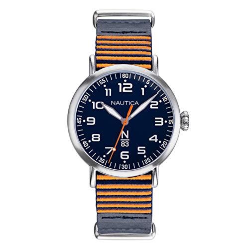 腕時計 ノーティカ メンズ 【送料無料】Nautica N83 Men's NAPWLS901 Wakeland Blue/Orange Stripe Leather Strap Watch腕時計 ノーティカ メンズ