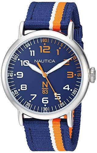 腕時計 ノーティカ メンズ 【送料無料】Nautica N83 Men's NAPWLS912 Wakeland Blue/Orange Stripe Fabric Strap Watch腕時計 ノーティカ メンズ