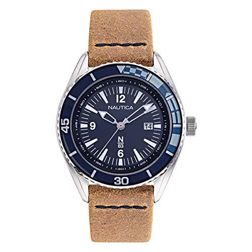 ノーティカ 腕時計 メンズ Nautica N83 Men's NAPUSF910 Urban Surf Brown/Navy Leather Strap Watchノーティカ 腕時計 メンズ