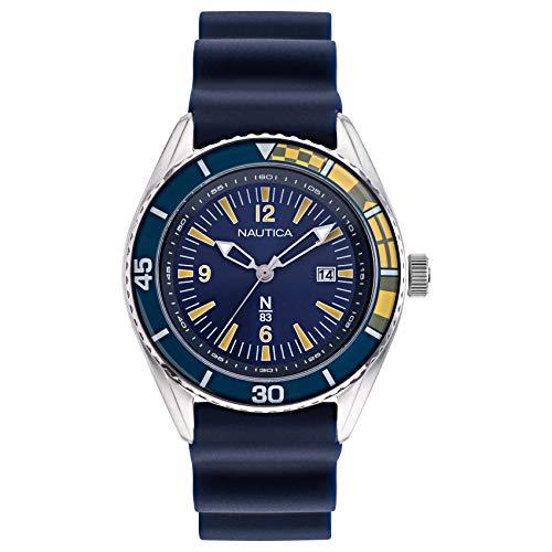 ノーティカ 腕時計 メンズ 【送料無料】Nautica N83 Men's NAPUSF914 Urban Surf Navy/Yellow Silicone Strap Watchノーティカ 腕時計 メンズ