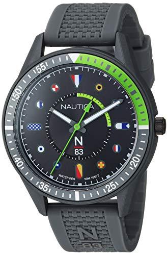 ノーティカ 腕時計 メンズ 【送料無料】Nautica N83 Men's NAPSPS902 Surf Park Gray/Green Silicone Strap Watchノーティカ 腕時計 メンズ
