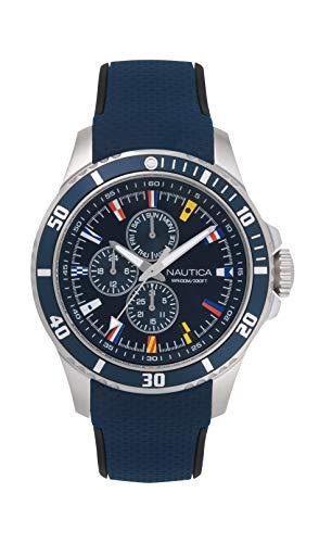 ノーティカ 腕時計 メンズ 【送料無料】Nautica Men's NAPFRB016 Freeboard Multifunction Navy/Silver Silicone Strap Watchノーティカ 腕時計 メンズ