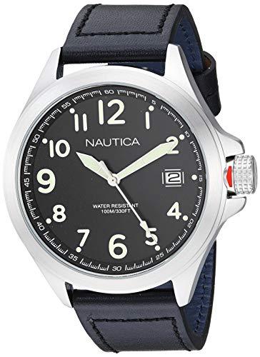 ノーティカ 腕時計 メンズ 【送料無料】Nautica Men's Glen Park Stainless Steel Japanese-Quartz Leather Strap, Black, 22 Casual Watch (Model: NAPGLP001ノーティカ 腕時計 メンズ