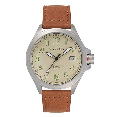 ノーティカ 腕時計 メンズ 【送料無料】Nautica Men's Glen Park Stainless Steel Japanese-Quartz Leather Strap, Brown, 22 Casual Watch (Model: NAPGLP003ノーティカ 腕時計 メンズ