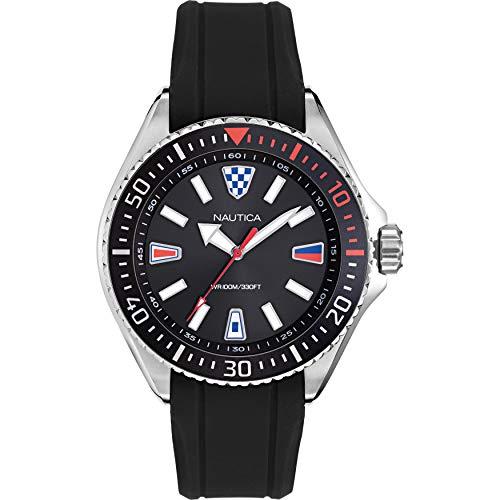 腕時計 ノーティカ メンズ 【送料無料】Nautica Men's NAPCPS903 Crandon Park Black/Silver Silicone Strap Watch腕時計 ノーティカ メンズ