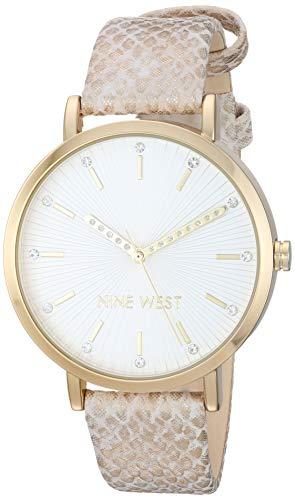 ナインウェスト 腕時計 レディース 【送料無料】Nine West Women's Crystal Accented Gold-Tone and Tan Snake Patterned Strap Watch, NW/2382GPTNナインウェスト 腕時計 レディース