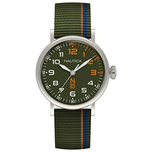 腕時計 ノーティカ メンズ 【送料無料】Nautica N83 Men's NAPWLS909 Wakeland Green/Blue/Orange Stripe Fabric Strap Watch腕時計 ノーティカ メンズ