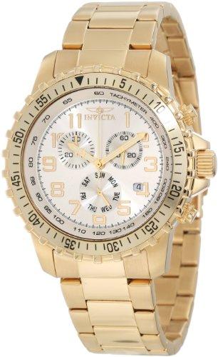 腕時計 インヴィクタ インビクタ メンズ 【送料無料】Invicta Men's 11369 Specialty Pilot Design Chronograph Silver Dial 18k Gold Ion-Plated Stainless Steel Watch腕時計 インヴィクタ インビクタ メンズ