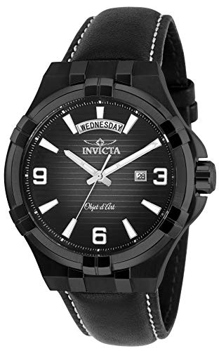 インヴィクタ インビクタ 腕時計 メンズ 【送料無料】Invicta Men's Objet D Art Stainless Steel Quartz Watch with Leather Strap, Black, 24 (Model: 30188)インヴィクタ インビクタ 腕時計 メンズ