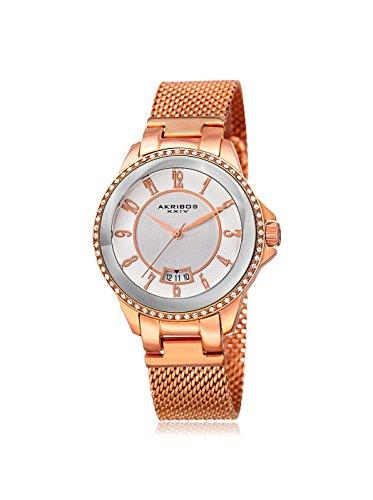 アクリボスXXIV 腕時計 レディース 【送料無料】Akribos XXIV Ador Silver Dial Ladies Rose Gold Watch AK840RGアクリボスXXIV 腕時計 レディース