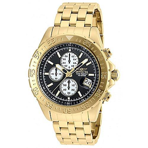 インヴィクタ インビクタ 腕時計 メンズ 【送料無料】Invicta Men's 48mm Aviator Quartz Chronograph 18K Gold Plated Black Dial Stainless Steel Bracelet Watchインヴィクタ インビクタ 腕時計 メンズ