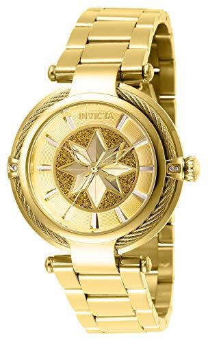 インヴィクタ インビクタ 腕時計 レディース 【送料無料】Invicta Women's Captain Marvel Analog Quartz Watch with Stainless Steel Strap, Gold, 20 (Model: 28833)インヴィクタ インビクタ 腕時計 レディース