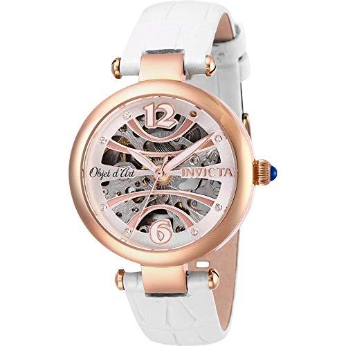 インヴィクタ インビクタ 腕時計 レディース 【送料無料】Invicta 26371 Women's Objet D Art Quartz White Leather Strap Watchインヴィクタ インビクタ 腕時計 レディース