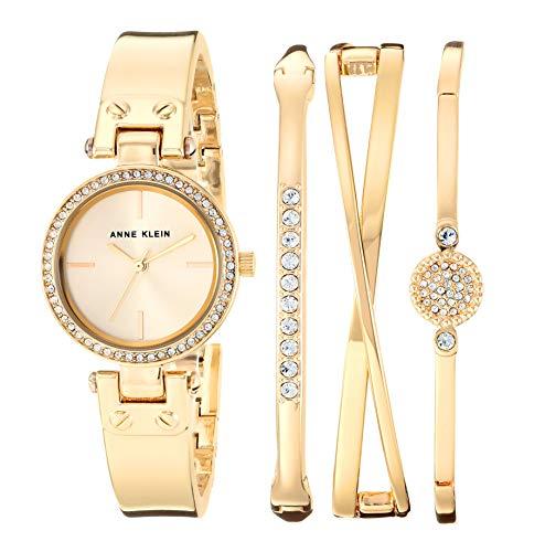 アンクライン 腕時計 レディース 【送料無料】Anne Klein Women's Swarovski Crystal Accented Gold-Tone Watch and Bangle Set, AK/3368GBSTアンクライン 腕時計 レディース