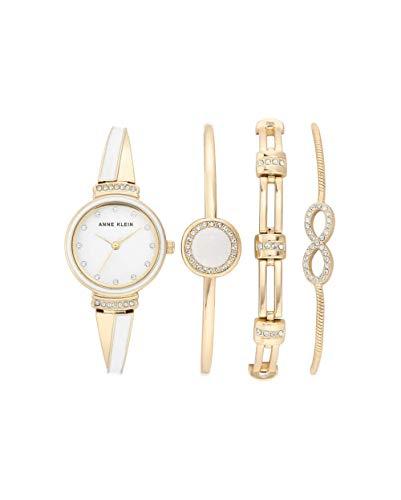 アンクライン 腕時計 レディース 【送料無料】Anne Klein Quartz White Dial Ladies Watch and Bracelet Set AK/3578WTSTアンクライン 腕時計 レディース