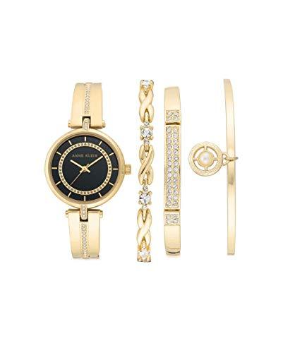 アンクライン 腕時計 レディース 【送料無料】Anne Klein Black Dial Quartz Ladies Watch and Bracelet Set AK/3426BKSTアンクライン 腕時計 レディース