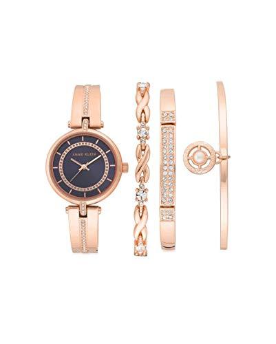 アンクライン 腕時計 レディース 【送料無料】Anne Klein Quartz Black Dial Ladies Watch and Bracelet Set AK/3426NRSTアンクライン 腕時計 レディース