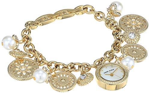 アンクライン 腕時計 レディース 【送料無料】Anne Klein Women's AK/3356CHRM Swarovski Crystal Accented Gold-Tone Charm Bracelet Watchアンクライン 腕時計 レディース