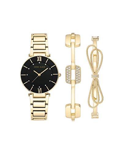 アンクライン 腕時計 レディース 【送料無料】Anne Klein Black Dial Quartz Ladies Watch and Bracelet Set AK/3366BKSTアンクライン 腕時計 レディース