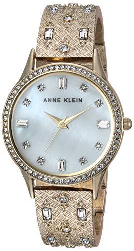 アンクライン 腕時計 レディース 【送料無料】Anne Klein Women's AK/3360MPGB Swarovski Crystal Accented Gold-Tone Textured Bangle Watchアンクライン 腕時計 レディース