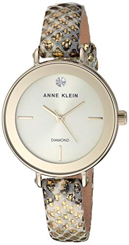 アンクライン 腕時計 レディース 【送料無料】Anne Klein Women's Genuine Diamond Dial Gold-Tone Snake Patterned Leather Strap Watch, AK/3508CHGDアンクライン 腕時計 レディース
