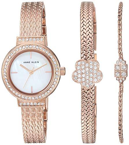 アンクライン 腕時計 レディース 【送料無料】Anne Klein Women's Swarovski Crystal Accented Rose Gold-Tone Mesh Watch and Bracelet Setアンクライン 腕時計 レディース