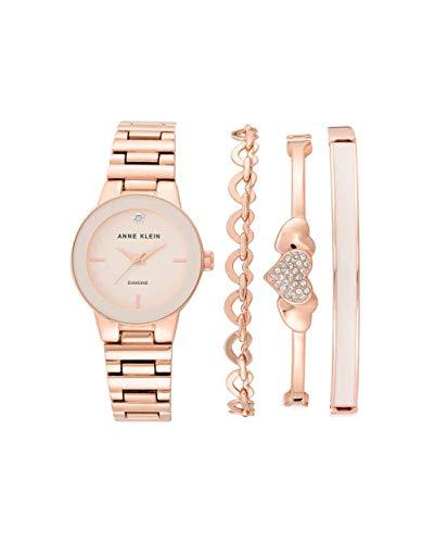アンクライン 腕時計 レディース 【送料無料】Anne Klein Quartz Pink Dial Rose Gold Ladies Watch and Bracelet Set AK/3382BHSTアンクライン 腕時計 レディース