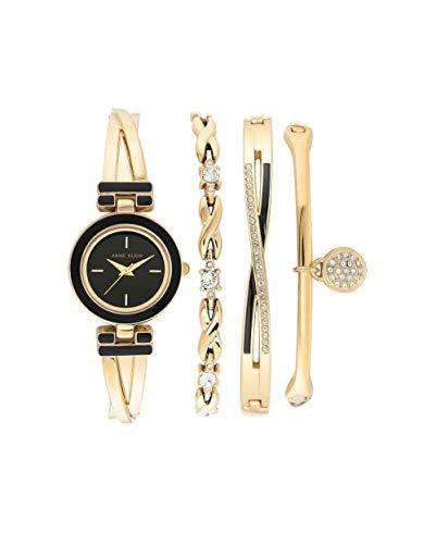 アンクライン 腕時計 レディース 【送料無料】Anne Klein Quartz Black Dial Ladies Watch and Bracelet Set AK/3576BKSTアンクライン 腕時計 レディース