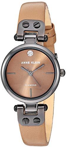 アンクライン 腕時計 レディース 【送料無料】Anne Klein Women's Genuine Diamond Dial Gunmetal and Mocha Brown Leather Strap Watch, AK/3513GYMOアンクライン 腕時計 レディース