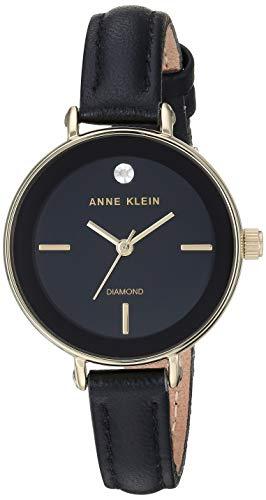 アンクライン 腕時計 レディース 【送料無料】Anne Klein Women's Genuine Diamond Dial Gold-Tone and Black Leather Strap Watch, AK/3508BKBKアンクライン 腕時計 レディース