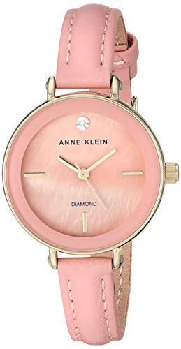 アンクライン 腕時計 レディース 【送料無料】Anne Klein Women's Genuine Diamond Dial Gold-Tone and Pink Leather Strap Watch, AK/3508PMPKアンクライン 腕時計 レディース